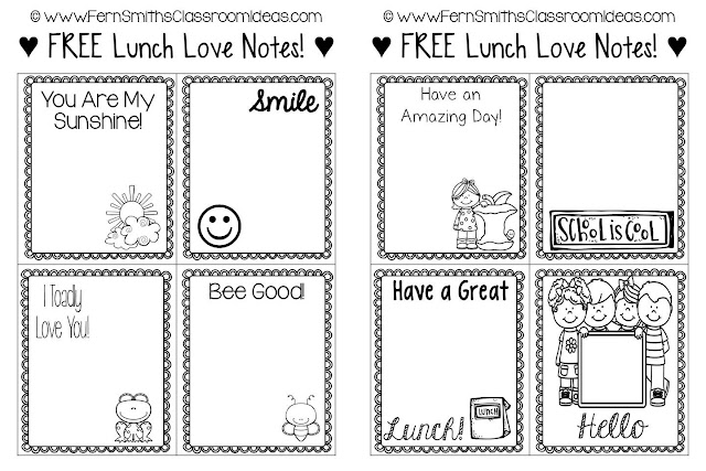 Fern Smith's Classroom Ideas FREE Printable Lunch Box Love Notes at TeacherspayTeachers!