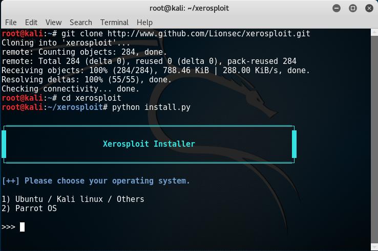 Xerosploit, selezione del sistema operativo