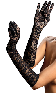 Black Lace Gloves for use in Steampunk Catwoman cosplay, womens steampunk clothing fashion