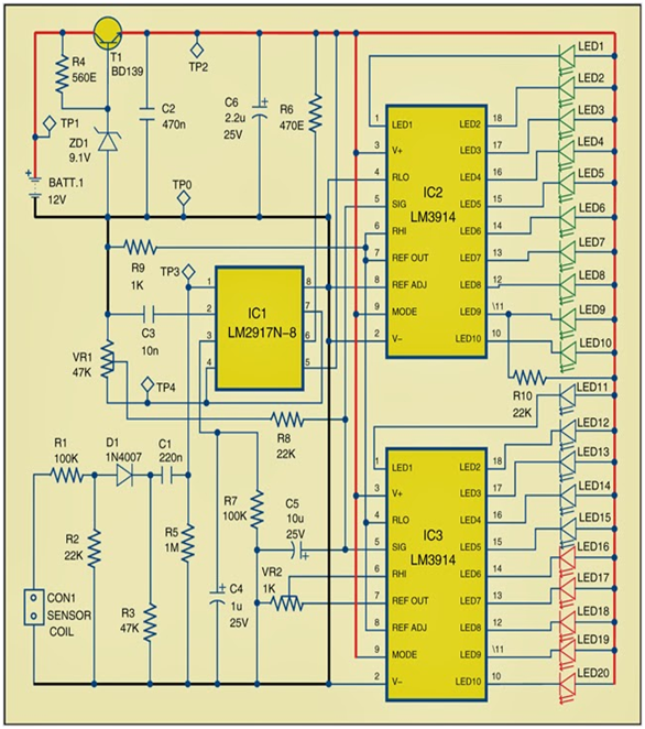 rpm meter for automobiles circuit diagram1 rpm meter circuit diagram the circuit has three stages\u2014pulse detection, frequency to voltage conversion and display of voltage by the led bar graph