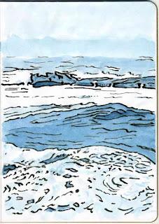 """""""Pemaquid Surf"""" - Watercolor by Paul Sherman"""