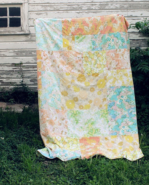 This gigantic patchwork sheet has been made out of vintage sheets and I love it so much! I need to make my very own patchwork quilt with cut up vintage sheets! It would make a gorgeous picnic blanket by Rachel Denbow from Smile and Wave Blog. Such a talented crafter!