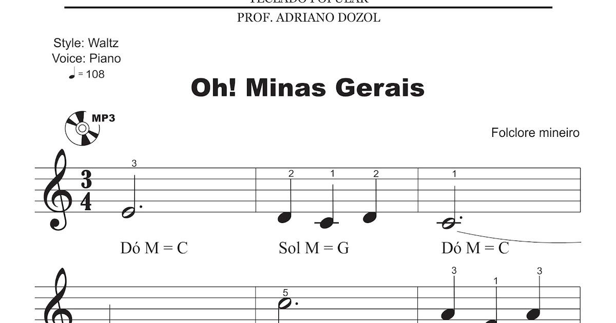 Adriano Dozol - Dicas, Partituras e Vídeos - Teclado | Piano: Oh! Minas  Gerais - Hinos (Partitura para Teclado com Áudio)
