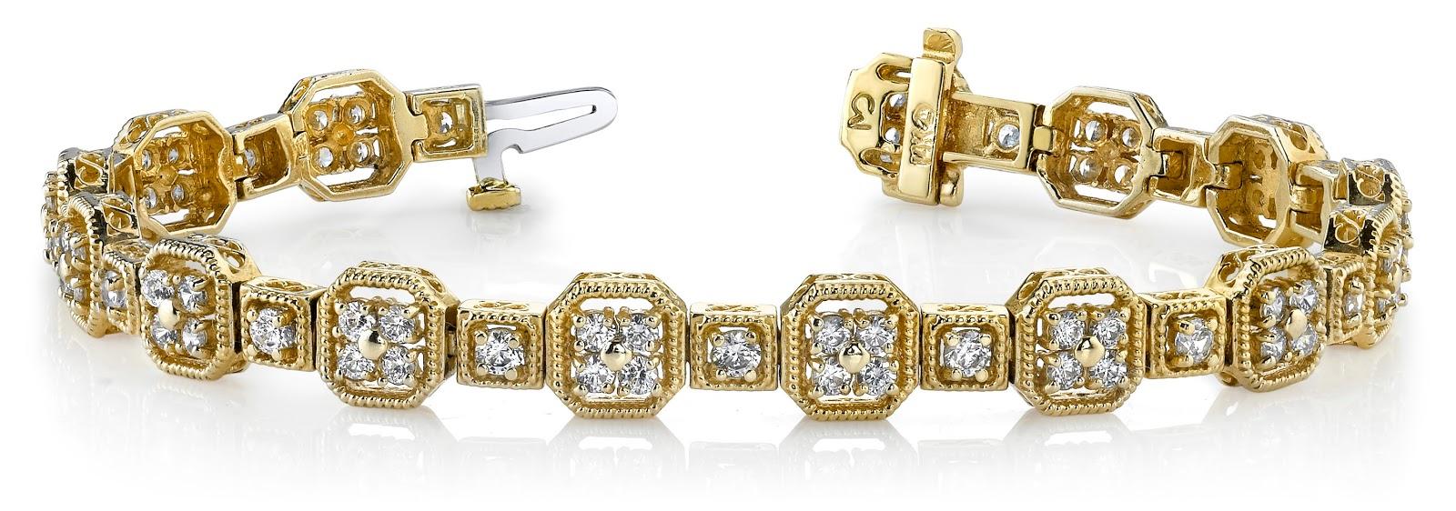 Vintage Quad Square Diamond Bracelet from Anjolee Jewelry