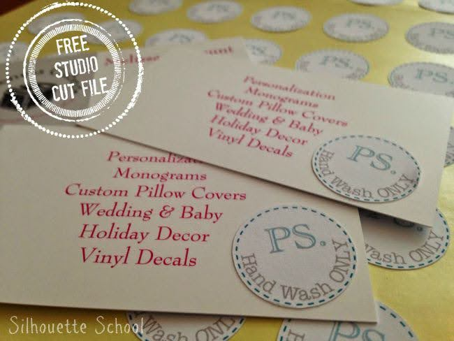 Silhouette Studio, free cut file, hand wash only sticker sheet