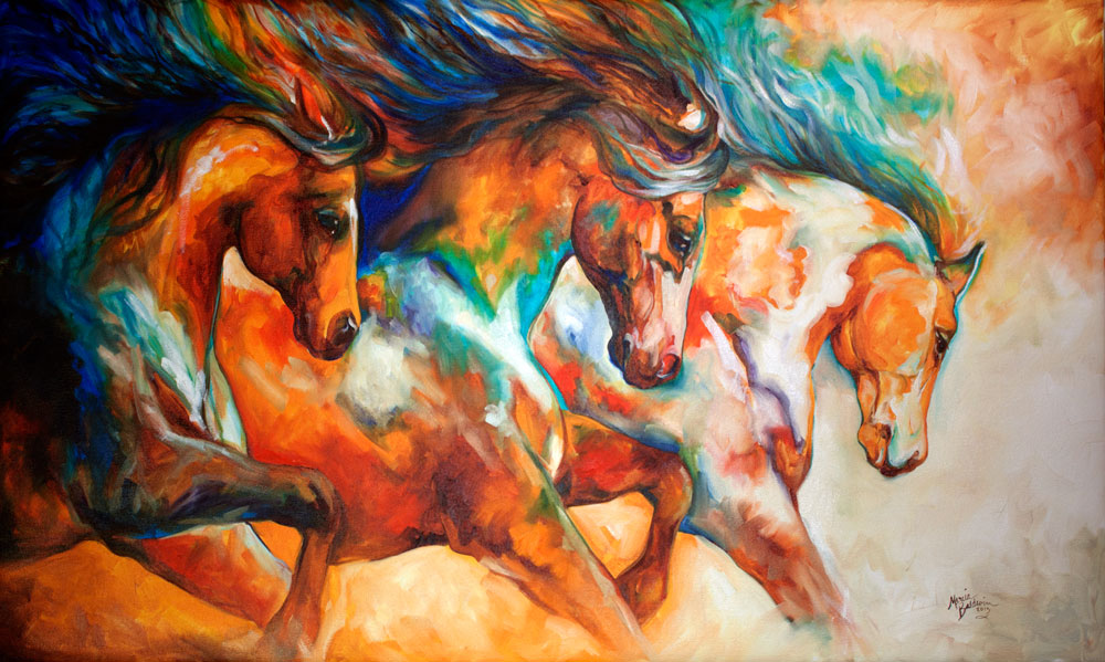 "M BALDWIN ORIGINAL OIL PAINTING WILD HORSE RUN ~ 60"" x 36 ..."