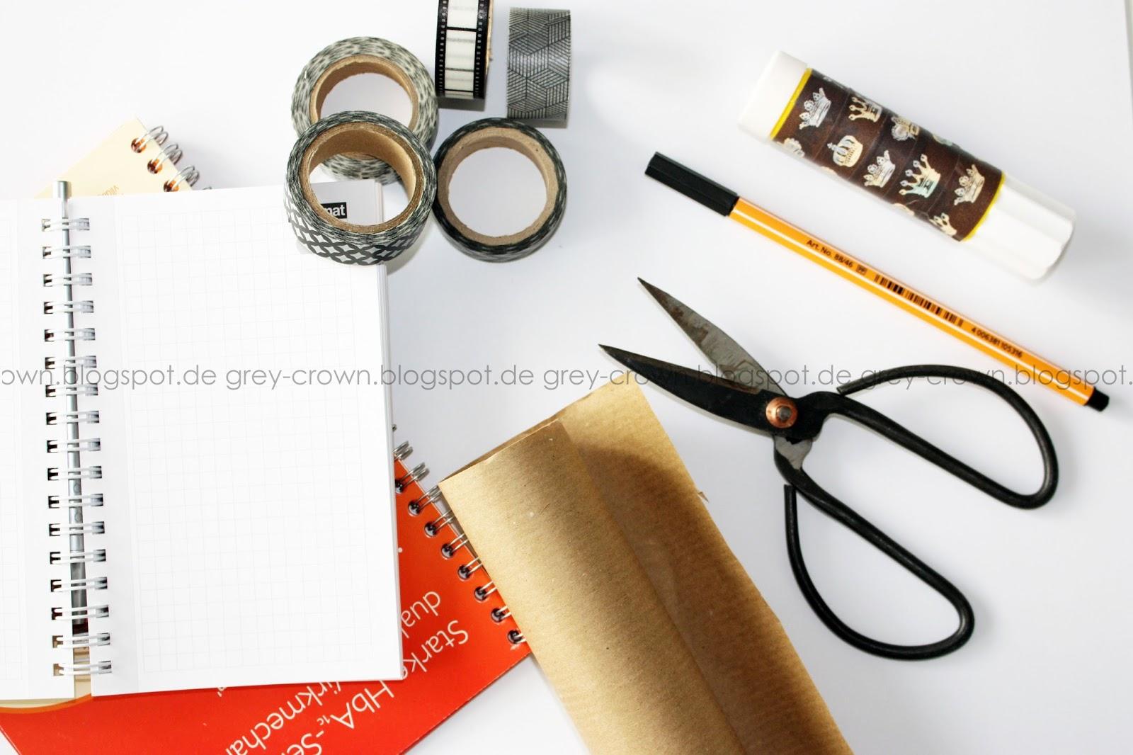 Grey crown schnelles diy notizbuch for Durchsichtige klebefolie