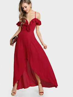 SHEIN Vestido rojo cruzado con hombros descubiertos con volantes
