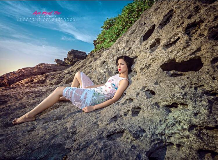 Aye Myat Thu Shows Off Her Fit Body And Fashion At Gaw Yan Gyi Island In Myanmar