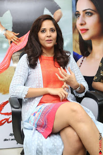 Actress Anasuya Bharadwaj in Orange Short Dress Glam Pics at Winner Movie Press Meet February 2017 (18).JPG