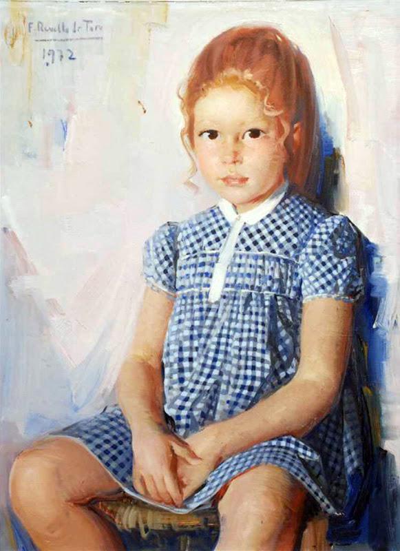 Retrato de niña, Félix Revello de Toro, Revello de Toro, Pintores Malagueños, Retratos de Revello de Toro, Pintor español, Pintores de Málaga