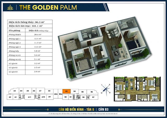 Thiết kế căn hộ B03 - B04 tòa B chung cư The Golden Palm