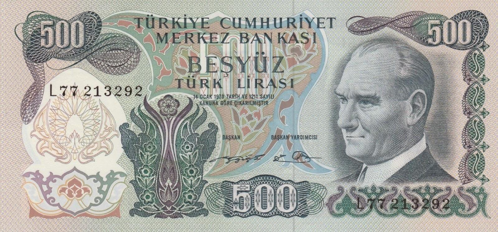 """Turkey Banknotes 500 Türk Lirasi """"Turkish Lira"""" note, Mustafa Kemal Atatürk"""