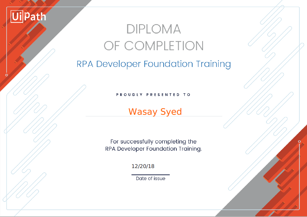 Completed UiPath - RPA Developer Advance Training