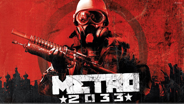 A man in a gas mask and military helmet holds a make shift shotgun, from Metro 2033