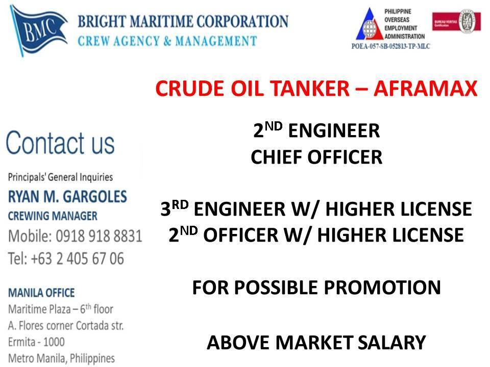 Chief engineer, 2nd engineer, 3rd engineer, Chief officer