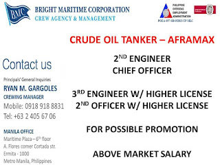 Careers for seaman work at crude oil tanker ships deployment Novembe - December 2018