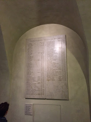 "A list ""cronotassi"" of bishops of Bergamo."