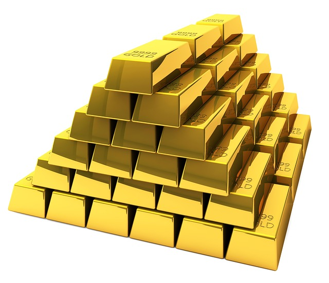 A piled up, mountain of gold