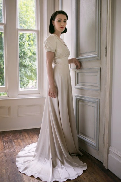 The Original Florence Vintage Style Wedding Dress With Puff Sleeves