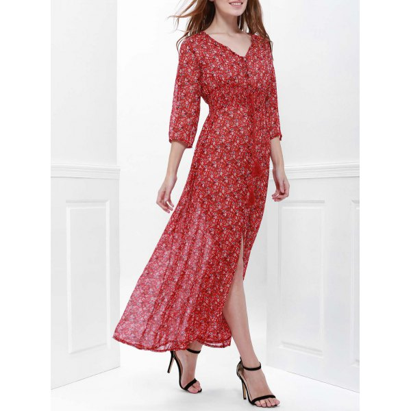 Printed High Slit Maxi Dress with Sleeves