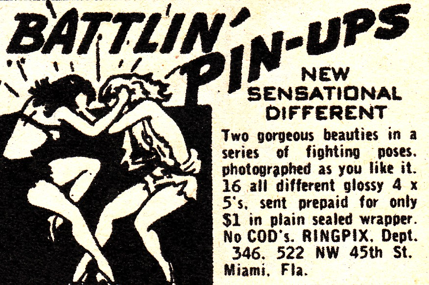 1950's era advertisement showing illustration of two women in ripped clothing wrestling