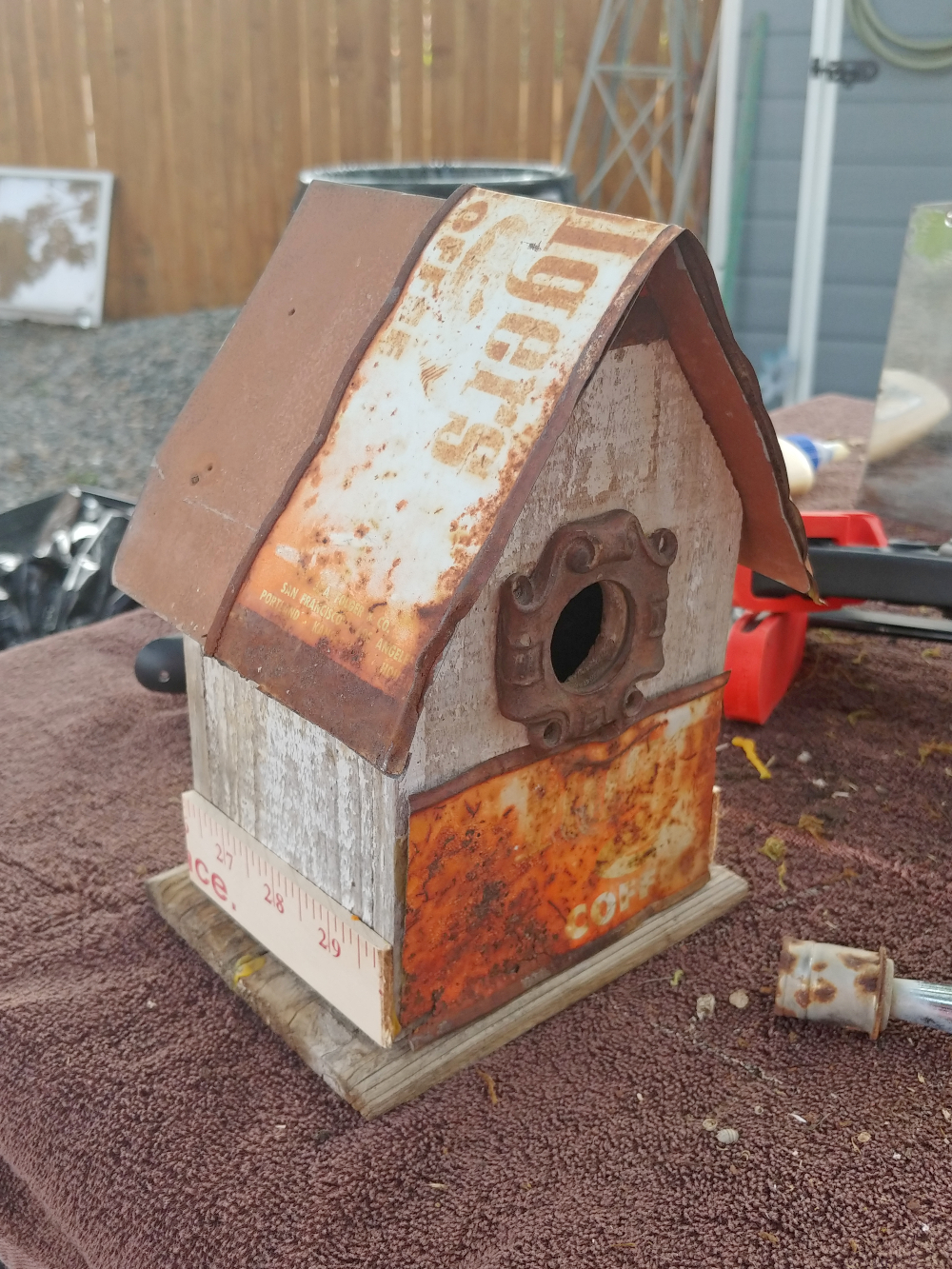 birdhouse with rusty details
