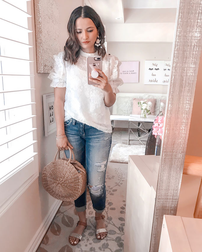 Summer 2018 Cute Summer Blogger Outfit White Shein Ruffle Top Straw Circle Bag Gold Target Sandals