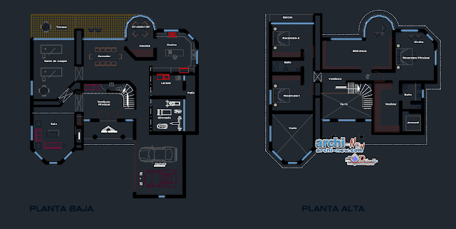 Dwelling residence in AutoCAD