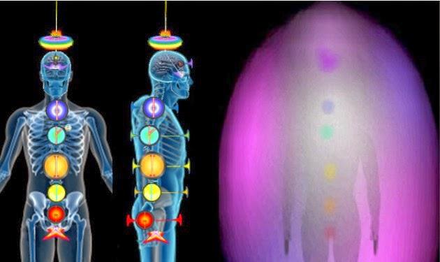 Fig. fondo negro con 2 siluetas humanas en azul (una de frente, otra de perfil) conteniendo ubicacion de chakras, asi como una tercera figura conteniendo aura color lila.