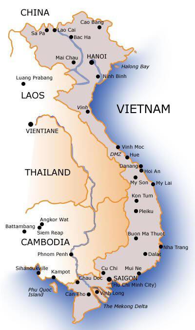 Familien Norgaard I Vietnam Kort Over Vietnam