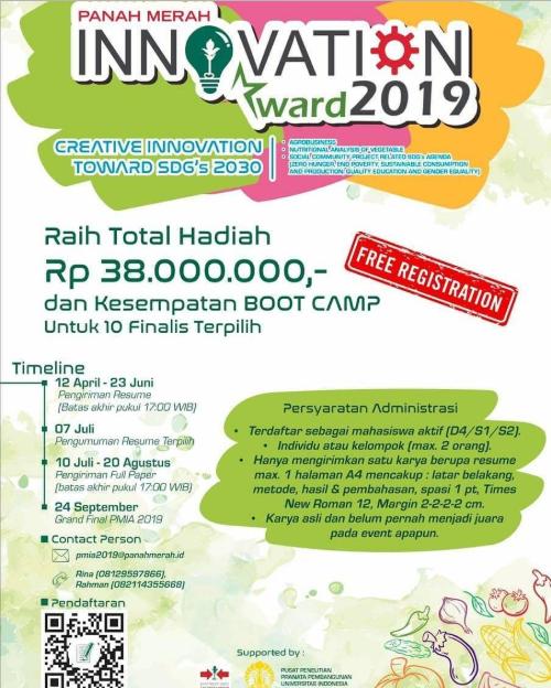 Panah Merah Innovation Award 2019 di UI, Hadiah 38 Jt