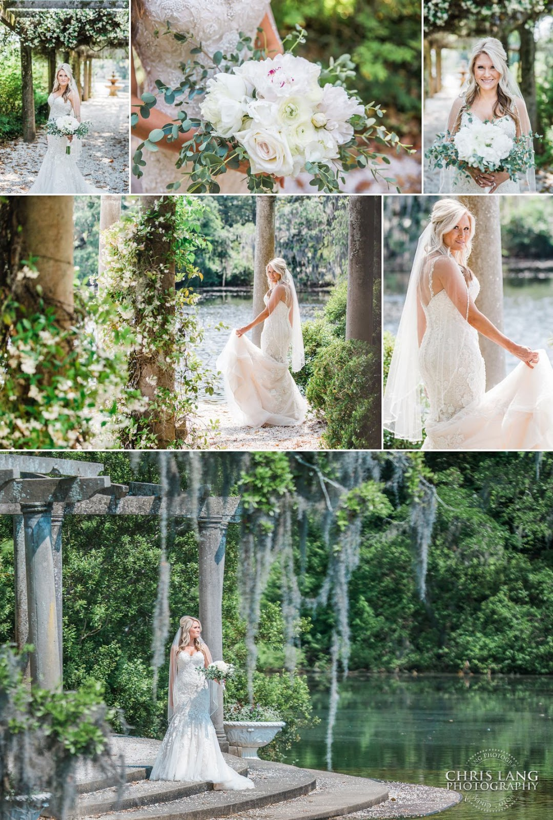 Image of bride in her wedding dress at Airlie Gardens in Wilmington NC - Airlie Gardens Weddings -  Wilmington NC Wedding Photography