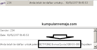 Mendapatkan Bonus Kouta tambahan 3GB