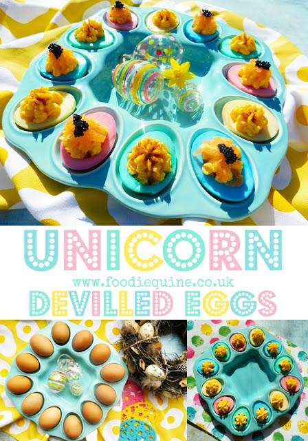 www.foodiequine.co.uk Unicorn Devilled Easter Eggs You'll find all the multicoloured shades of a rainbow unicorn in this pretty pastel retro-tastic canape which is ideal for parties or picnics. Take your devilled eggs to a whole new level of sophistication by colouring them and serving with smoked salmon and caviar.