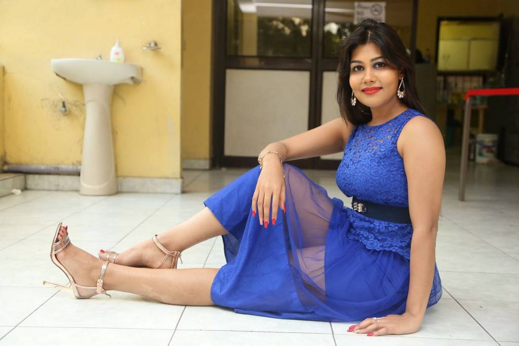 Rachana Smith In Blue Hot Dress During Idem Deyyam Press Meet