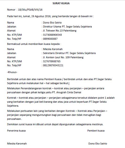 17 contoh surat kuasa pengurusan pengambilan terlengkap
