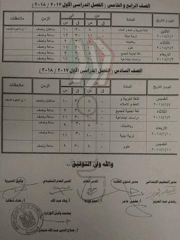 جدول إمتحانات الصف السادس الابتدائي 2018 الترم الأول محافظة كفر الشيخ