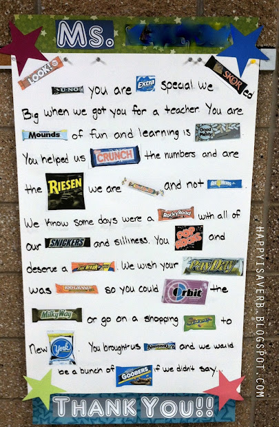 Teacher Appreciation Candy Bar Poster