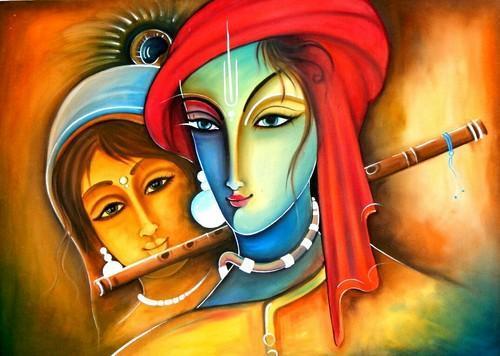 Radha Krishna Modern Art Painting Photo