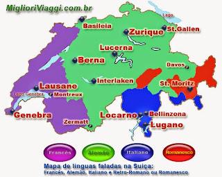 Mapa das linguas faladas na Suiça e principais cidades de cada região.