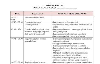 Jadwal Harian PAUD Kurikulum 2013 Terbaru