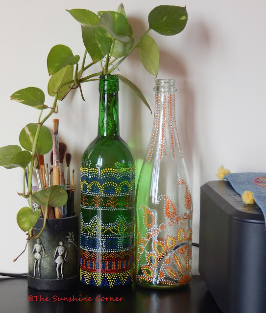 Recycled Wine Bottle with dot painting, Fevicryl 3D outliner