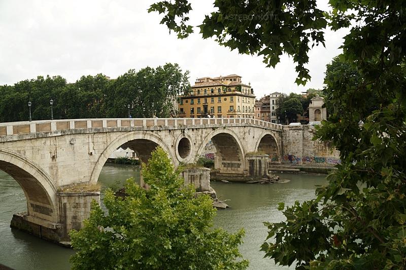 Brücke über den Tiber in Rom im Juni, umgeben von vielen grünen Platanen - Städtetrip nach Rom