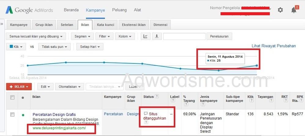 iklan google adwords ditangguhkan