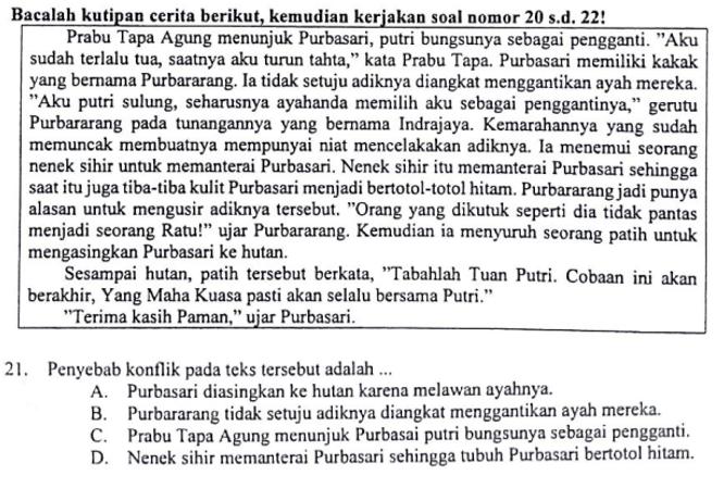Contoh Soal Menentukan Penyebab Konflik Dalam Cerita Dan Pembahasan Soal Un Bahasa Indonesia Smp Mts Tahun 2018 Zuhri Indonesia