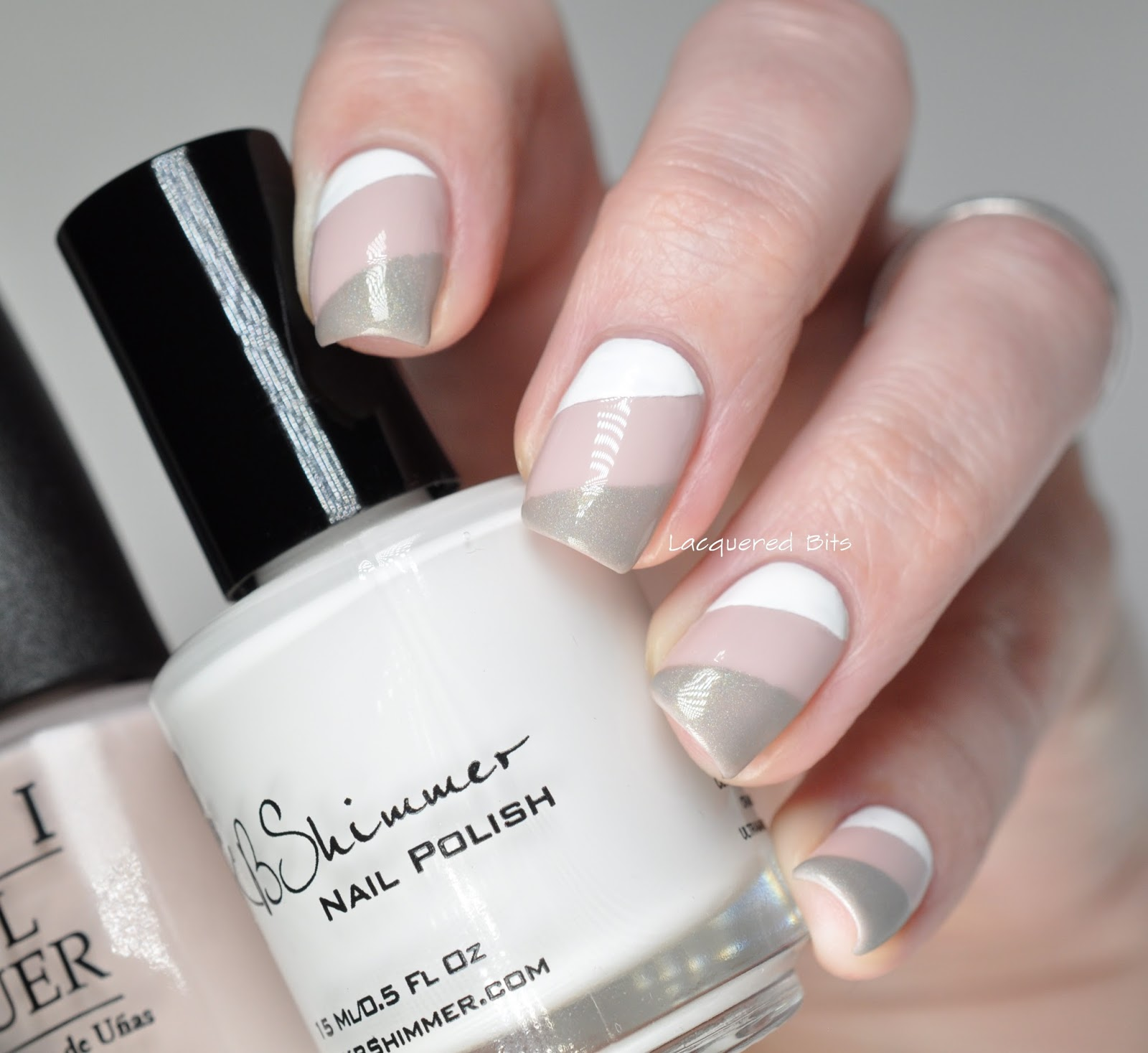 White Taupe Grey Combination On My Nails