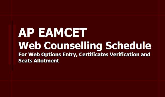 AP EAMCET Web options Entry, Certificates Verification, Seats Allotment dates 2019