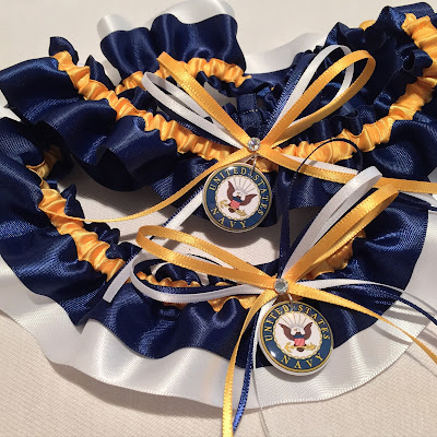 United States Navy Wedding Garters by Sugarplum Garters
