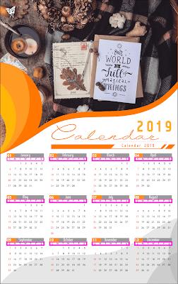 006 Calendar 2019 Printable Template Design Ai Vector Cdr Holiday